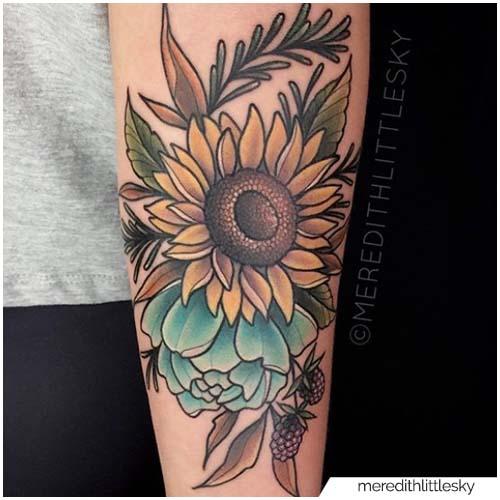 Tatuaje de girasol neotradicional