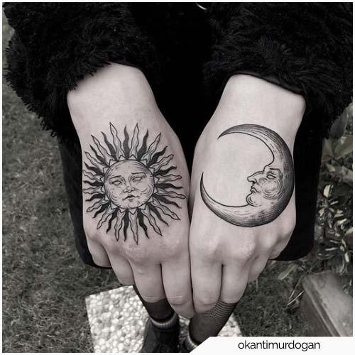 tatuaggio luna e sole mani