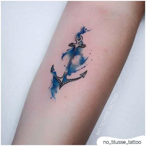 tattoo ancora acquerello