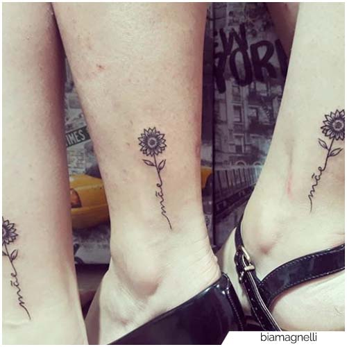 Tatuaje de girasol de pareja