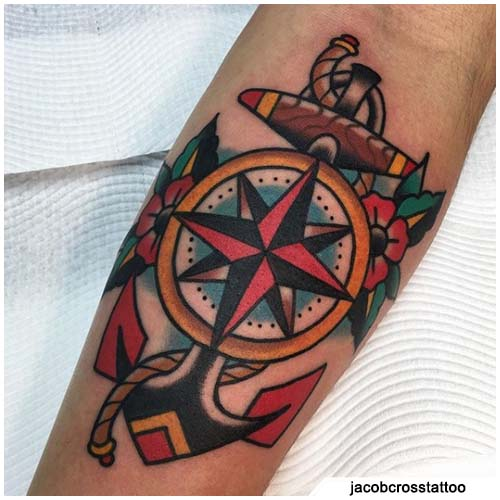 tatuaggio bussola ancora