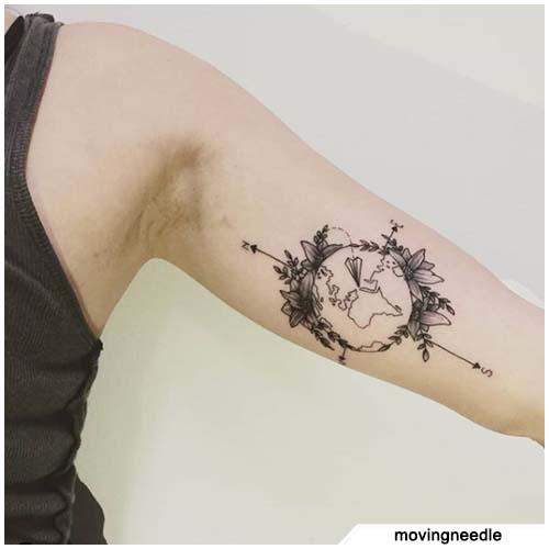 tatuaggio bussola globo