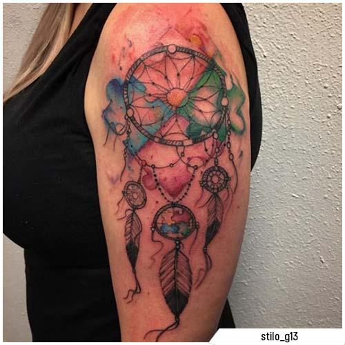 tattoo acchiappasogni watercolor