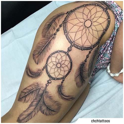 tattoo acchiappasogni coscia