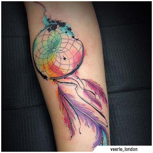 acchiappasogni tattoo watercolor arcobaleno