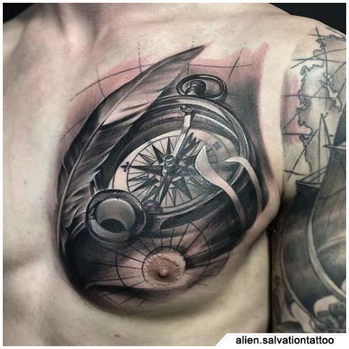 tatuaje de brújula realista