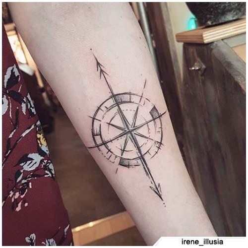 bosquejo del tatuaje de la brújula