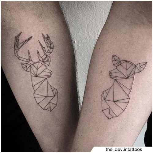 tatuajes para parejas ciervo geométrico