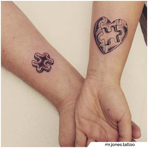 tattoo di coppia puzzle incastro