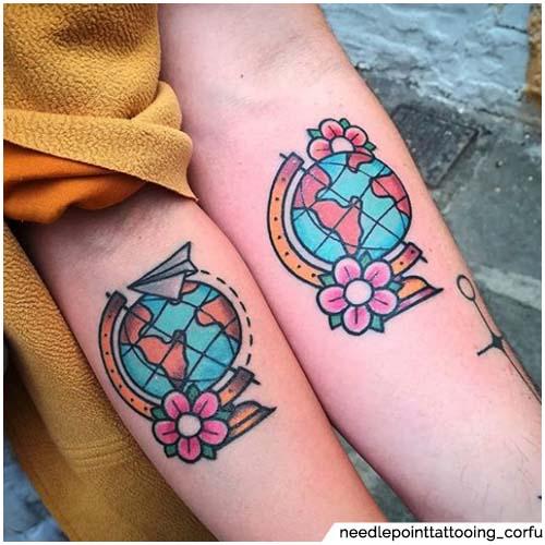 tatuaje de globo de pareja
