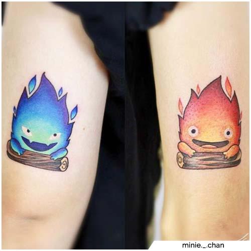tatuajes para parejas llamas rojas y azules