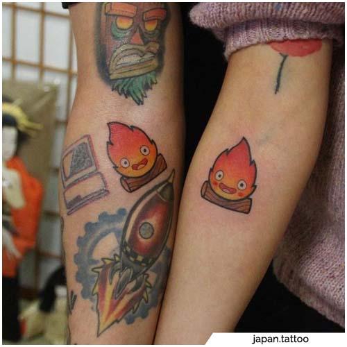 tatuajes de llamas de pareja
