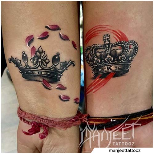 tatuaggi di coppia king queen alone