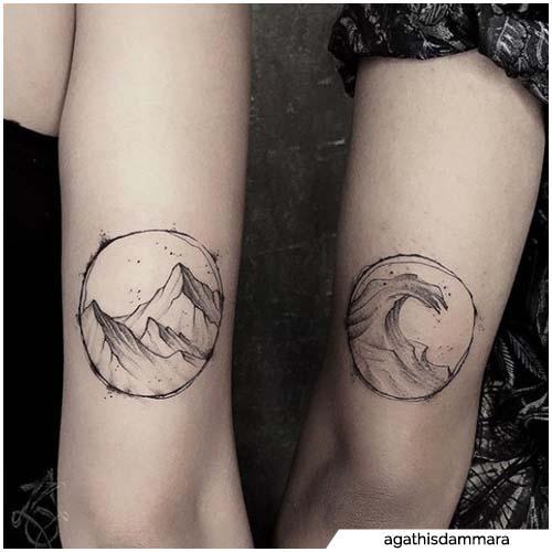 tatuajes de pareja de mar y montaña