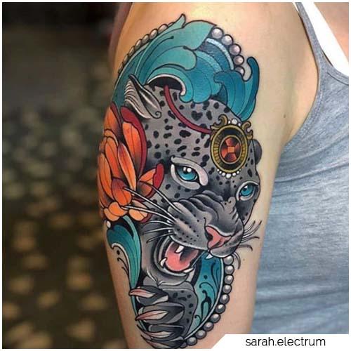 tattoo leopardo neotraditional