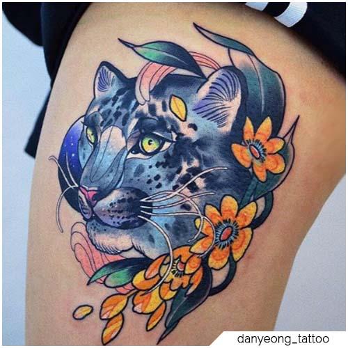 new school tattoo leopardo delle nevi