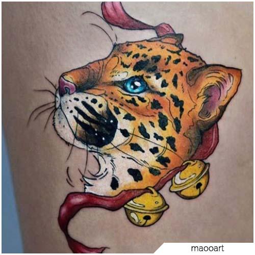 tatuaje de leopardo técnica mixta