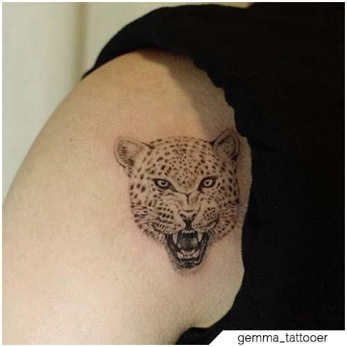 tatuaggio leopardo mini realistico