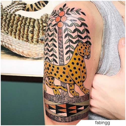 tatuaje impresionista de leopardo