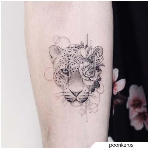 tatuaje de mini leopardo realista