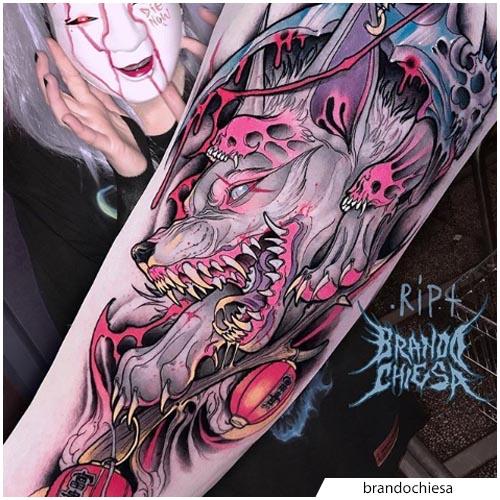 tatuaje de lobo brandochiesa