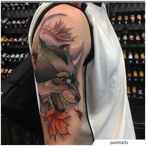 tatuaggio lupo new school spalla