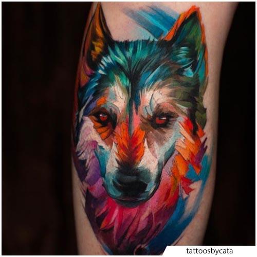 tatuaggio lupo colorato