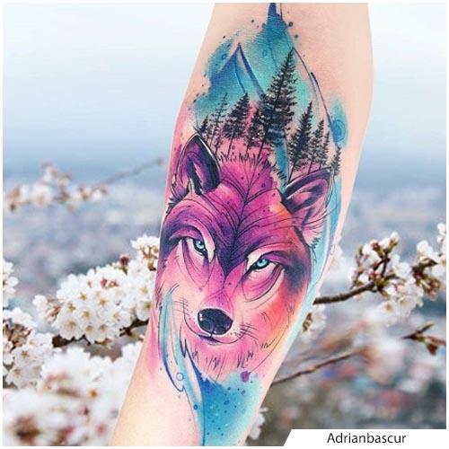 tatuaggio lupo watercolor