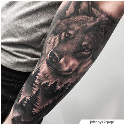 tatuaggio lupo realistico