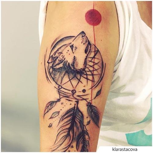 tatuaggio lupo acchiappasogni