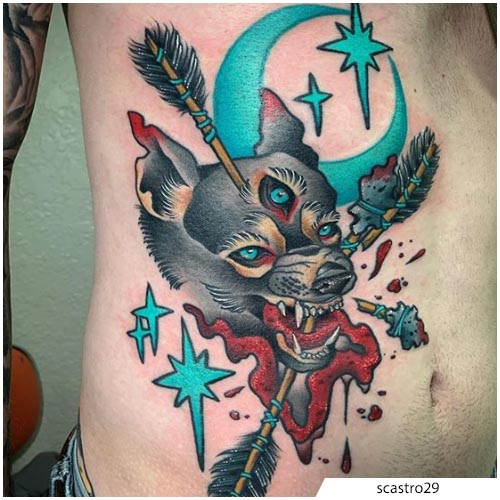 tatuaggio lupo new school sul costato