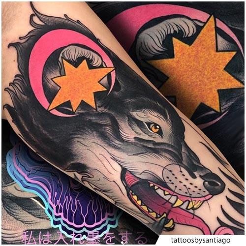 tatuaje de lobo neo tradicional