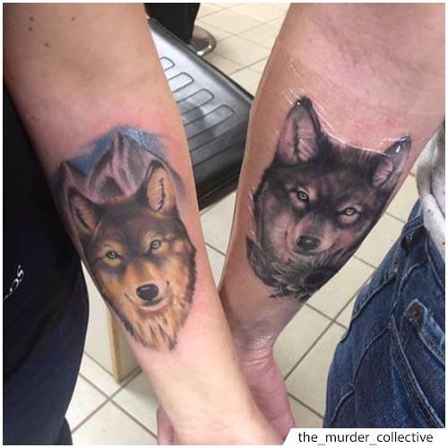 tatuaje lobo pareja