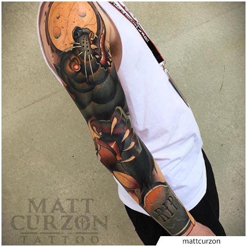 tatuaggio lupo mannaro new school
