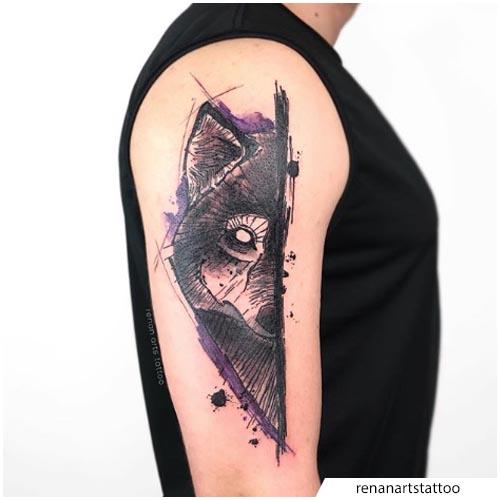tattoo lupo a metà