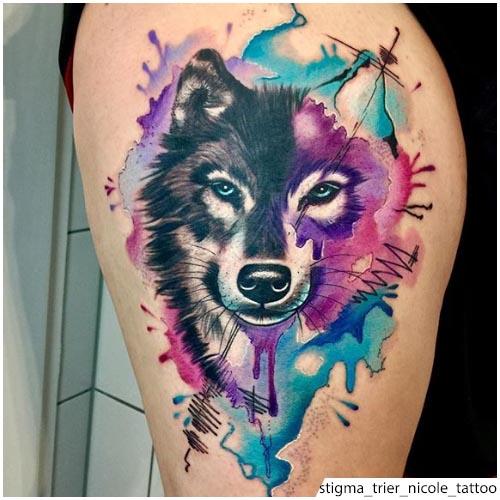 tattoo lupo stile acquerello