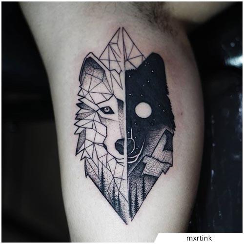 tattoo lupo yin yang