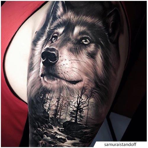 tattoo lupo iper realistico
