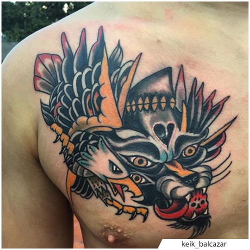 tatuaggio lupo e aquila old school