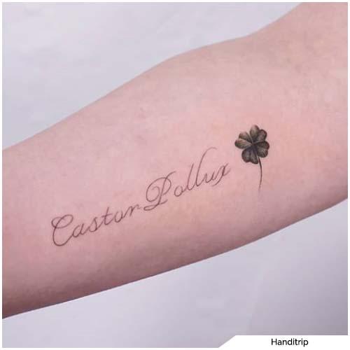 tatuaggio quadrifoglio scrittina