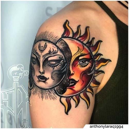 tatuaggio sole e luna spalla