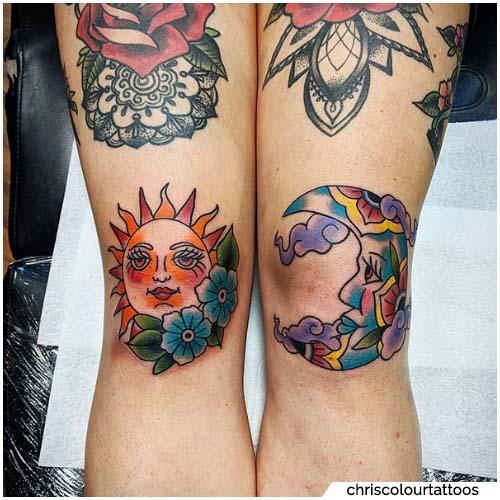 tatuaggio sole e luna ginocchia