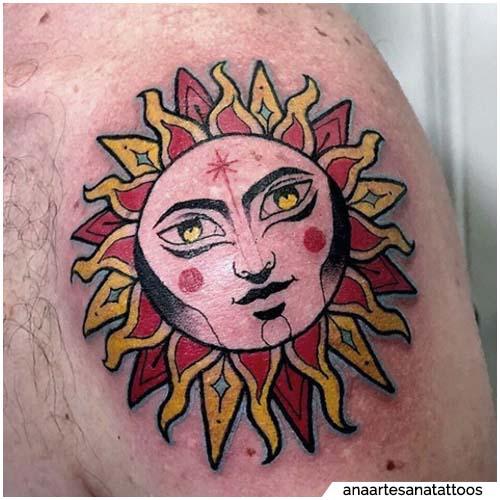 tatuaggio sole rosso