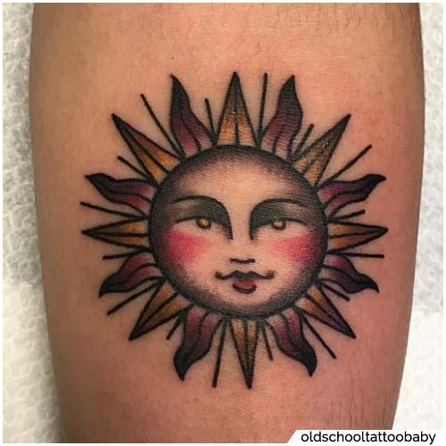 tatuaggio sole old school