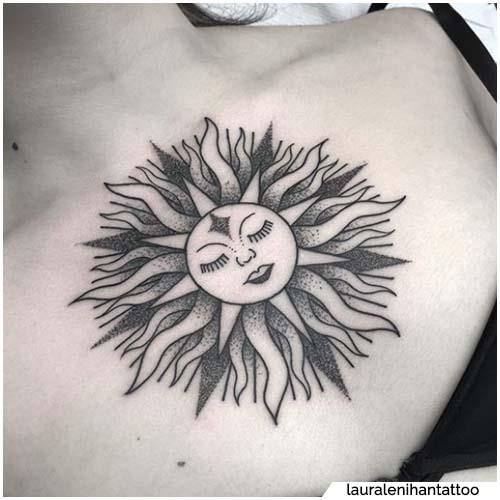 tattoo sole petto