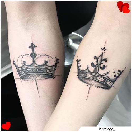 pareja rey corona corona tatuajes