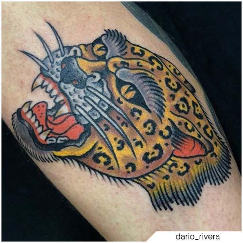 tatuaje de leopardo de la vieja escuela
