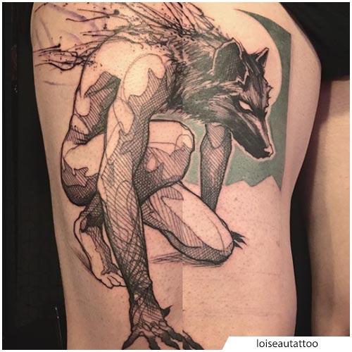 tatuaggio lupo mannaro
