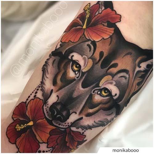 tatuaggio lupo neo traditional