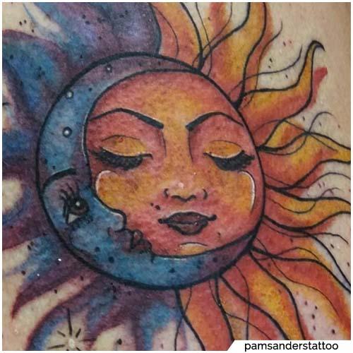 tatuaggio sole e luna watercolor